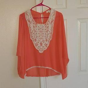 Coral chiffon lace trim blouse